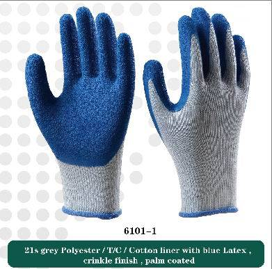 21s cotton liner with bule latex  working safety gloves