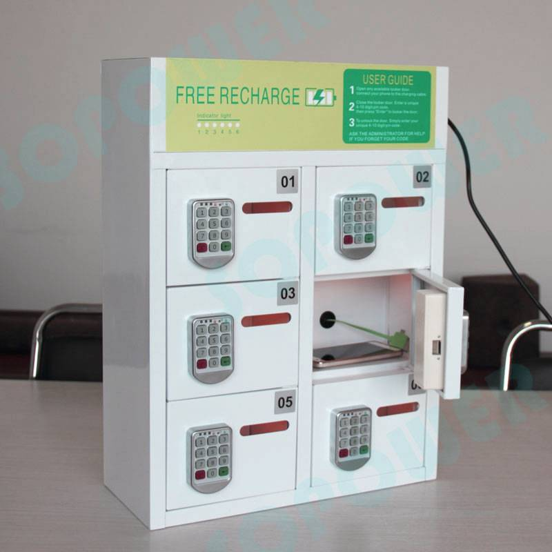 6-bay phone/tablet charging station/locker with pin pad lock