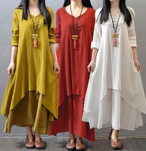 Women Long Sleeve Double Layers Button Asymmetric Vintage Maxi Dress - brick red XL