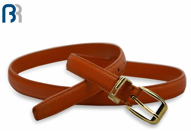 Ladies Skiny Stitching Red PU Belt