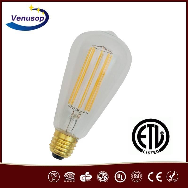 2016 new style ul led bulbs high power dimmable led bulbs 7w e27 b22 base st58 edison bulb led