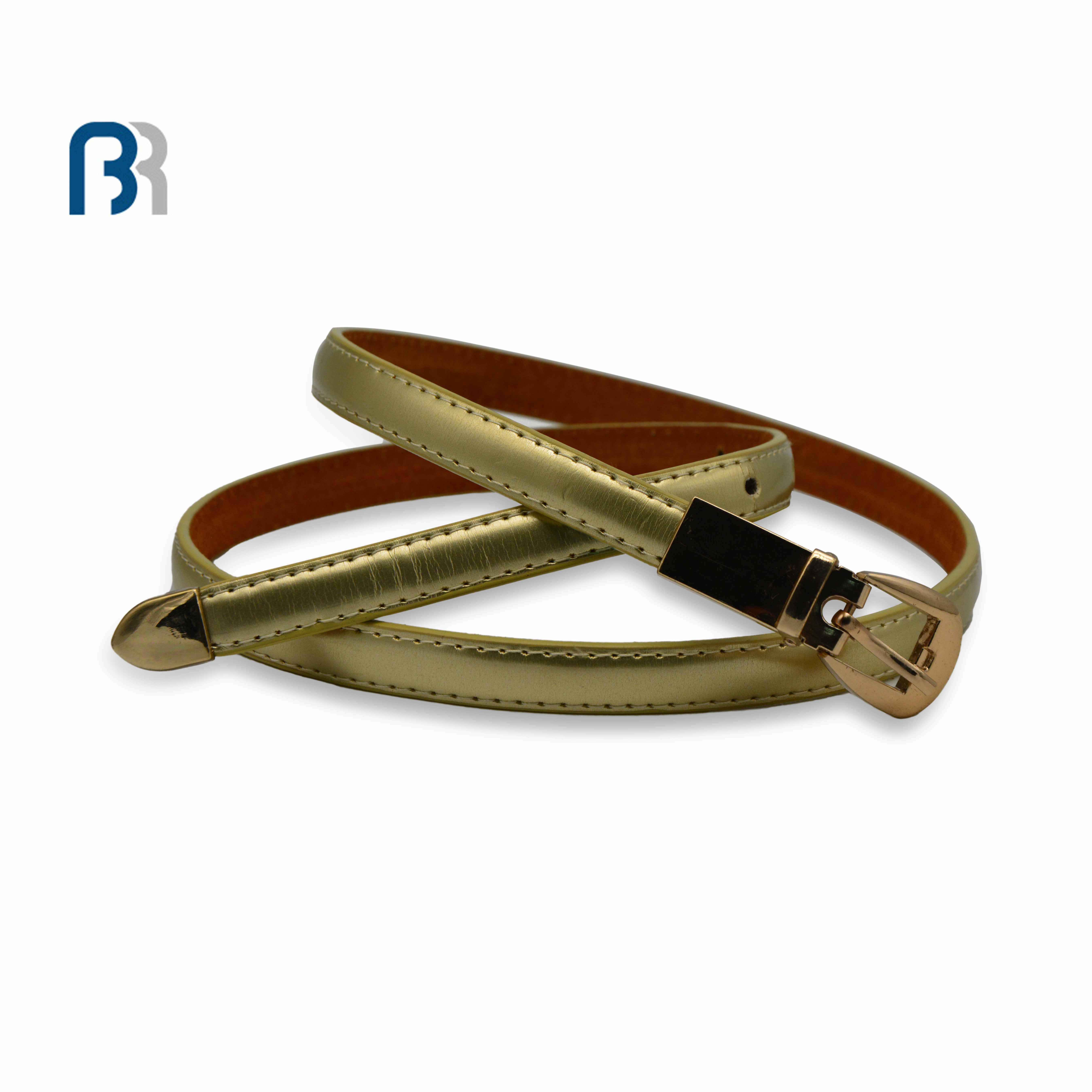 Gold Finish PU Belt With Gold Shine Metal Of Buckle