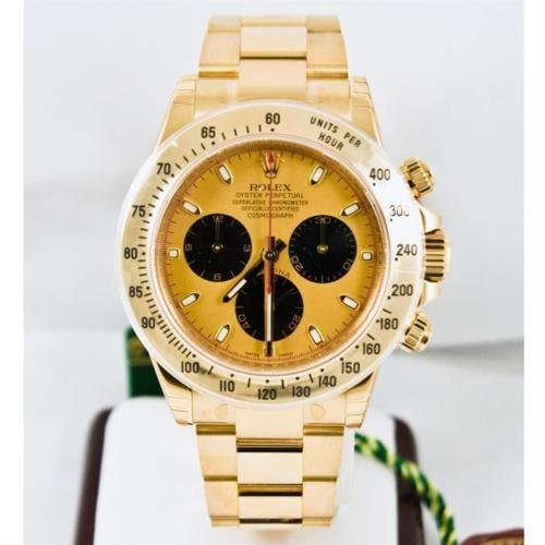 Unused Rolex 18k Yellow Gold Daytona Model 116528 Champagne Paul Newman Dial Luxury Watch