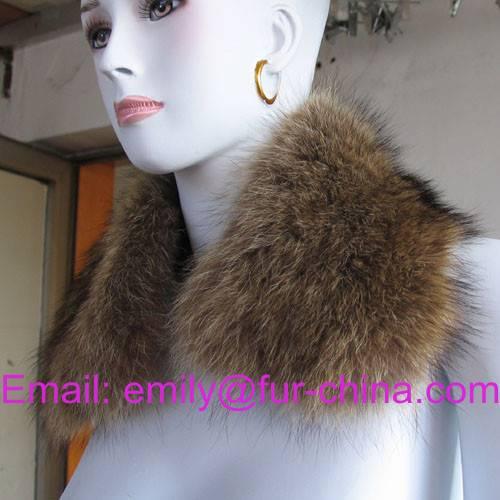 For Jacket Natural Brown Raccoon Fur Collar