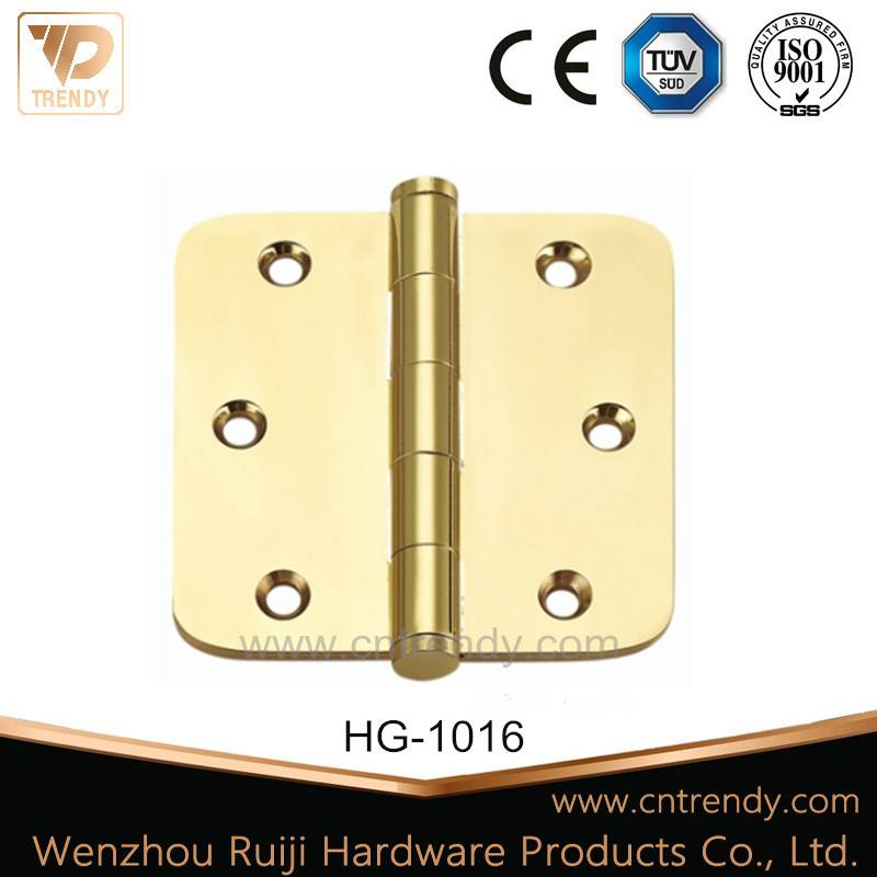 Trendy Style Flat Brass Door Hinge with Round Angle