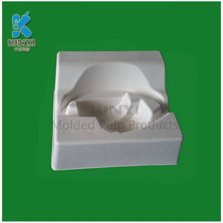 Biodegradable mold pulp packaging tray for earphone packaging