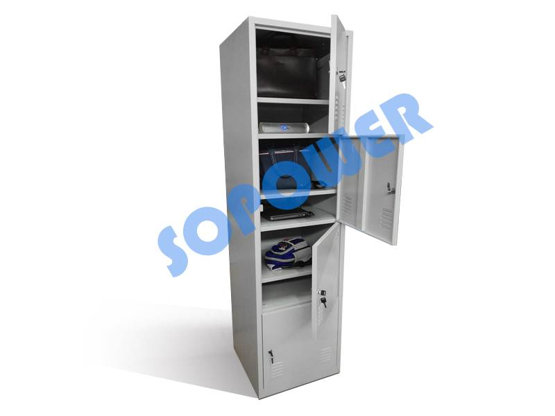 Steel locker for storage articles and charge tablet pc (socket in it)