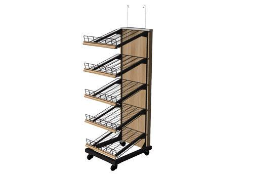 Bakery Shelves, 5 Tier Wire Shelf, Caster, Metal Frame With Wood