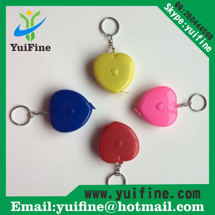 Lovely Heart Shaped ABS Meters Tape Measure 1.5m/60inch with Keychain 150cm *7mm 60in Mini measuring