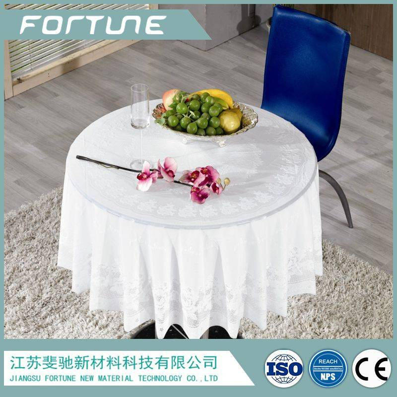 pvc film used for table cloth printed design lace edge