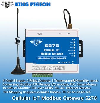 S278 Cellular IoT Modbus Gateway(4DIN,2Relay,1TH,USB,RJ45,RS485,320