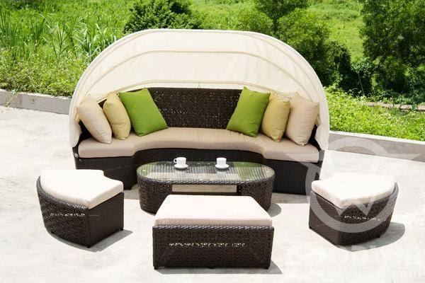 Gw3127 Set Outdoor Furniture Rattan Chaise Lounge Multifunctional Design