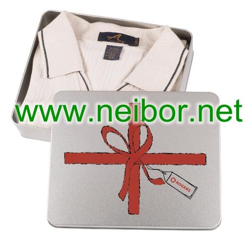 clothing tin box, T-shirt tin box, Tie tin box, gift tin box for clothing