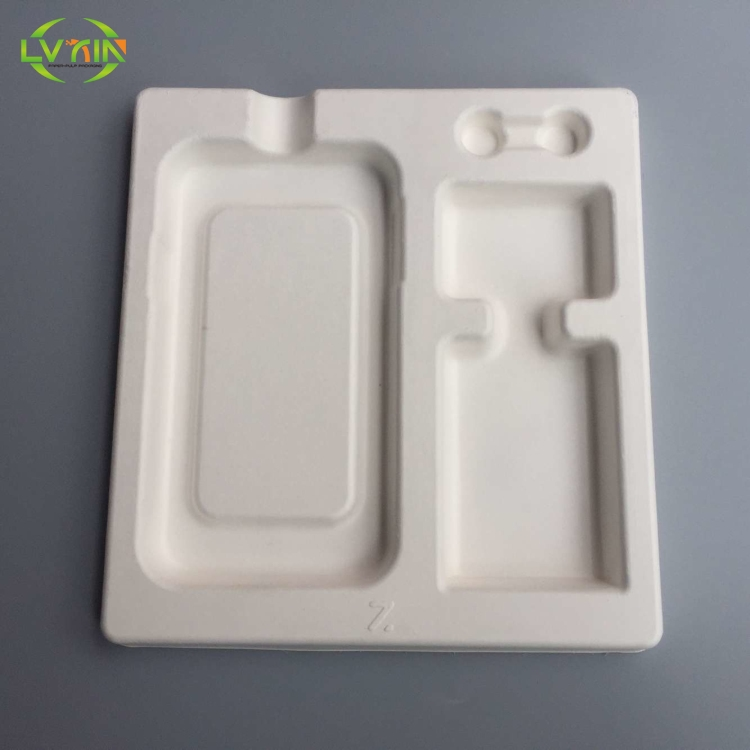 Recyclable electronic sugarcane inner packaging molded pulp tray