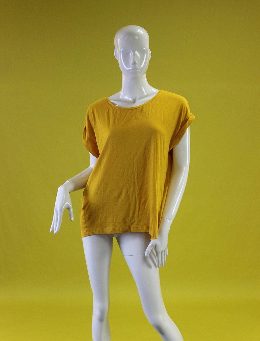 New arrivals suctom-made zara style ladies yellow tee