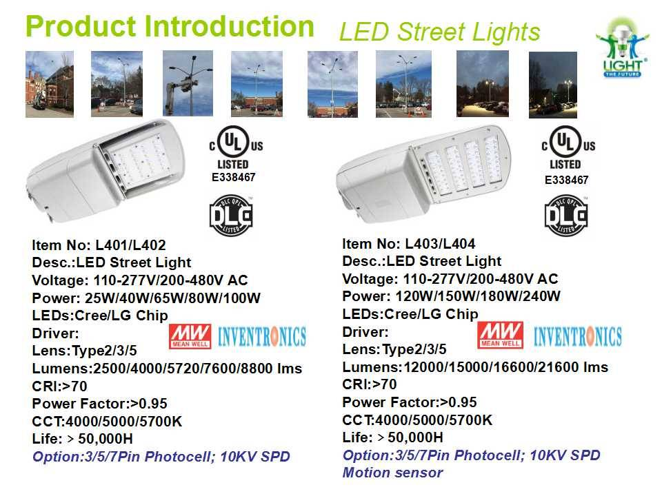 New cULus and DLC Listed LED Street Light/Parking Lot Lights with Photocontrol