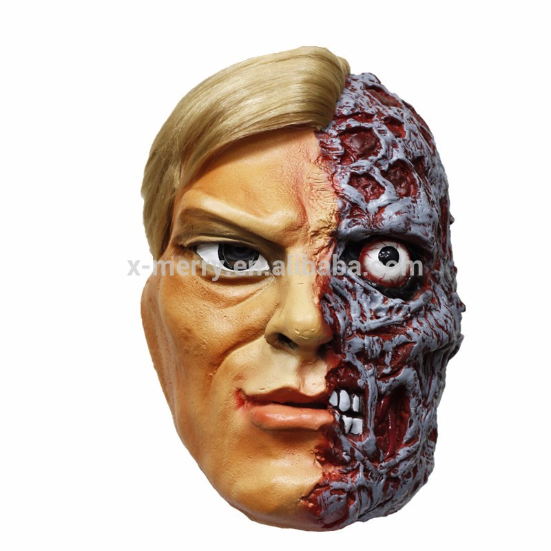 X-MERRY TOY Hot Sale Ugly Face Hollaween half Face Rotface Scar Scary Latex Face Mask For All occas