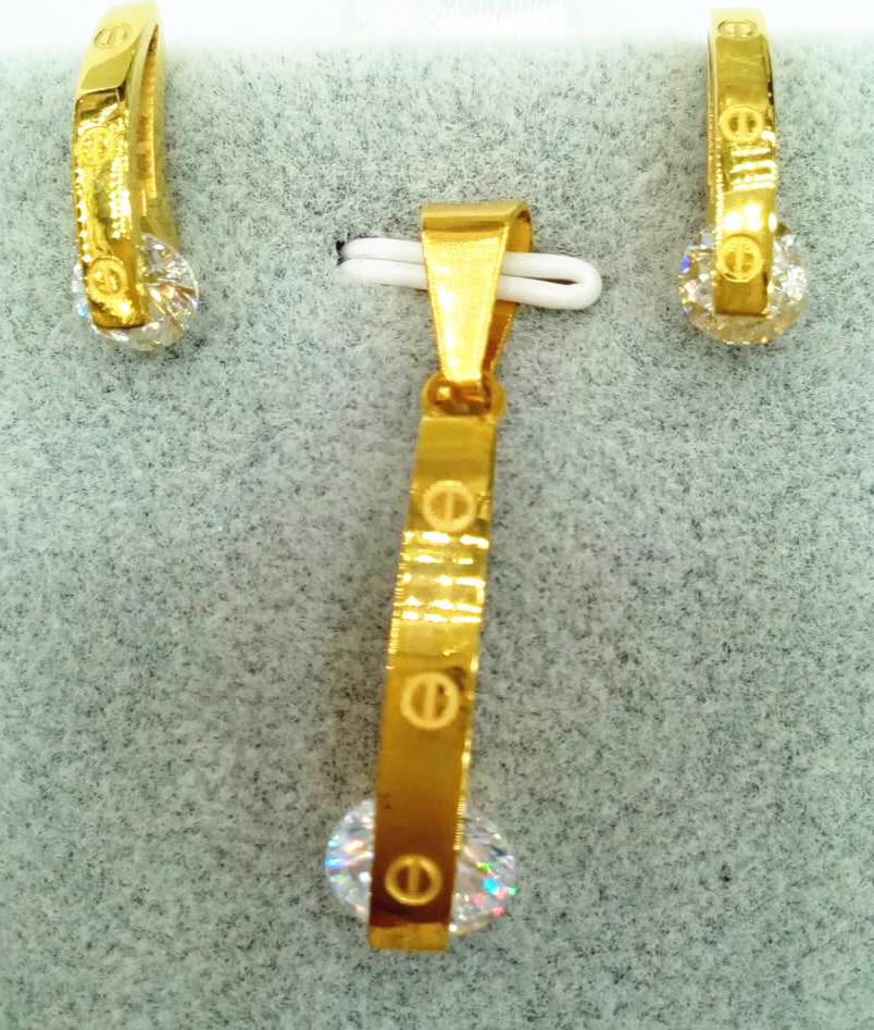 Custom Jewelry Luxury women wedding necklace set stainless steel zircon earring elegant