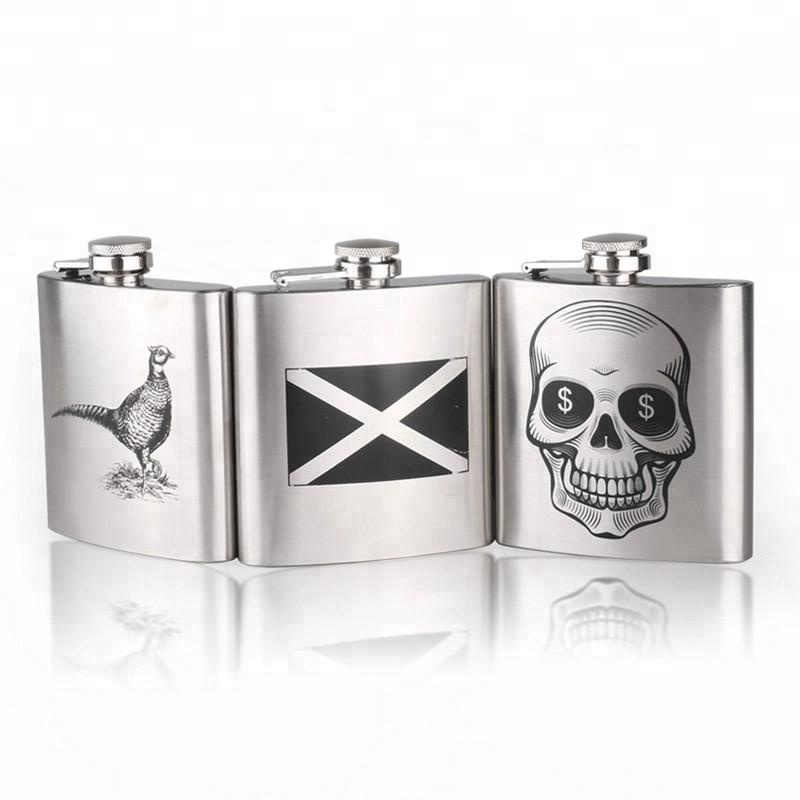 Hot selling food grade stainless steel hip flask with silk printing