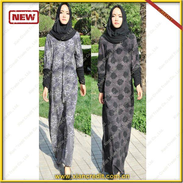2014 Newest muslim women abaya made of Two face cotton tencel prints