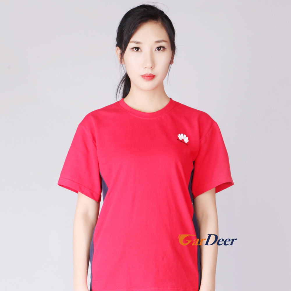 Fashion high quality grid red pique workwear for huawei store experience