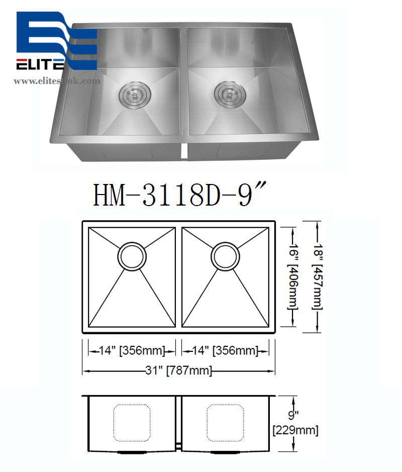 Stainless Steel Sink zero radius edge double bowl