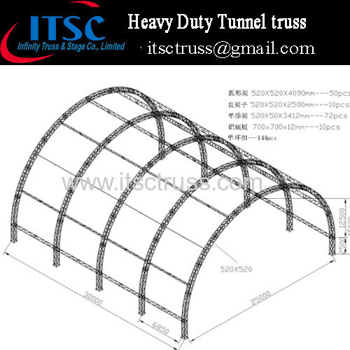Heavy duty giant tunnel roof truss system 25m x30m x 15m high