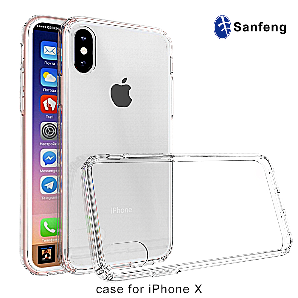 For Apple Iphone X Cover Shockproof Acrylic+TPU Bumper Mobile Phone Case