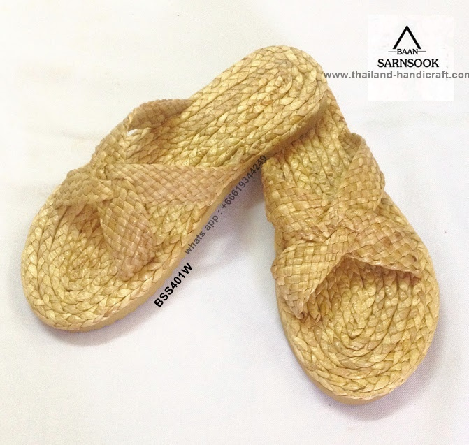 Woven straw spa slippers with water hyacinth from Thailand