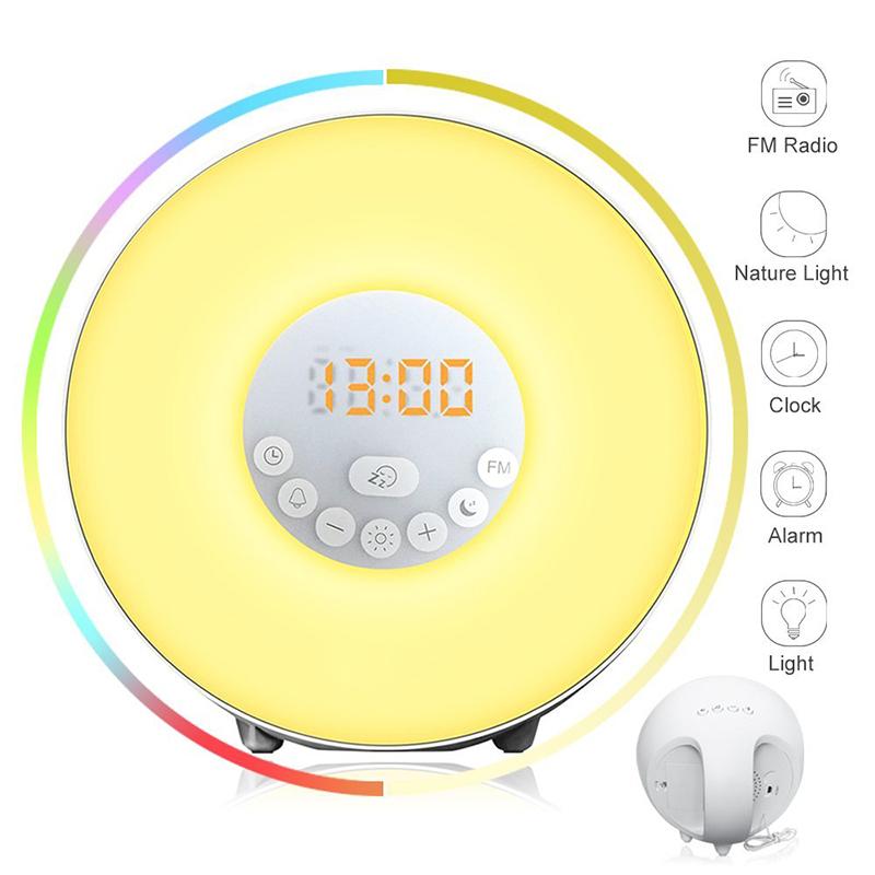 7Colors Touch 10 Brightness Simulated sunrise light led sunlight kids digital alarm clock with alarm