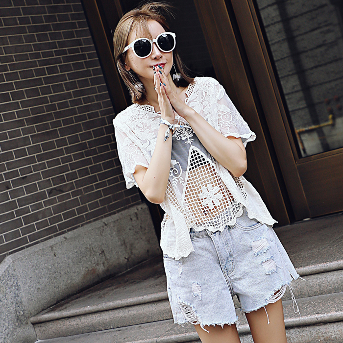 Lace Hollow Crochet Short Sleeve T-shirt Embroidery Lace Hollow Women's Summer Lace Casual Wild Shor
