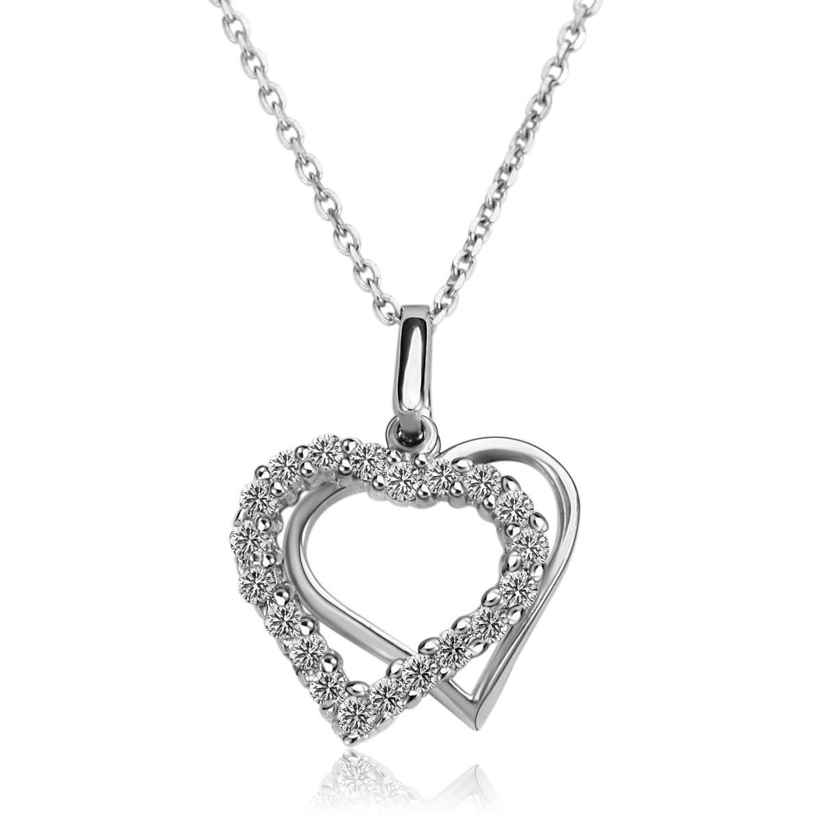 Wholesale Women Fashion Necklace 925 Silver Necklace Double Heart S925 Silver Pendant Micro Setting