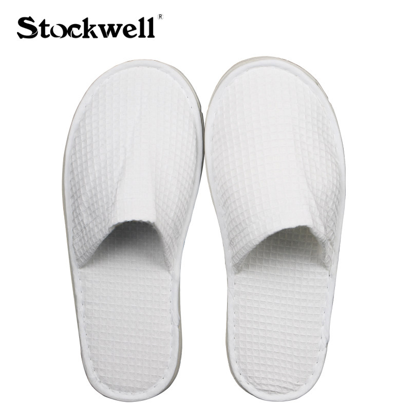 Stockwell Waffle White Soft Cotton Hotel Slipper