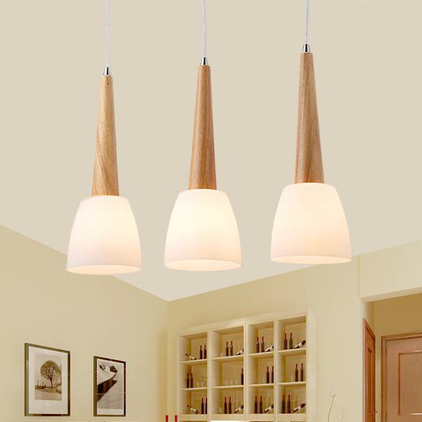 SL Wood Dinning room Lamp LED Wood Pendant Lamp Rubber Wood Japan Style Kitchen lamp Without Remote