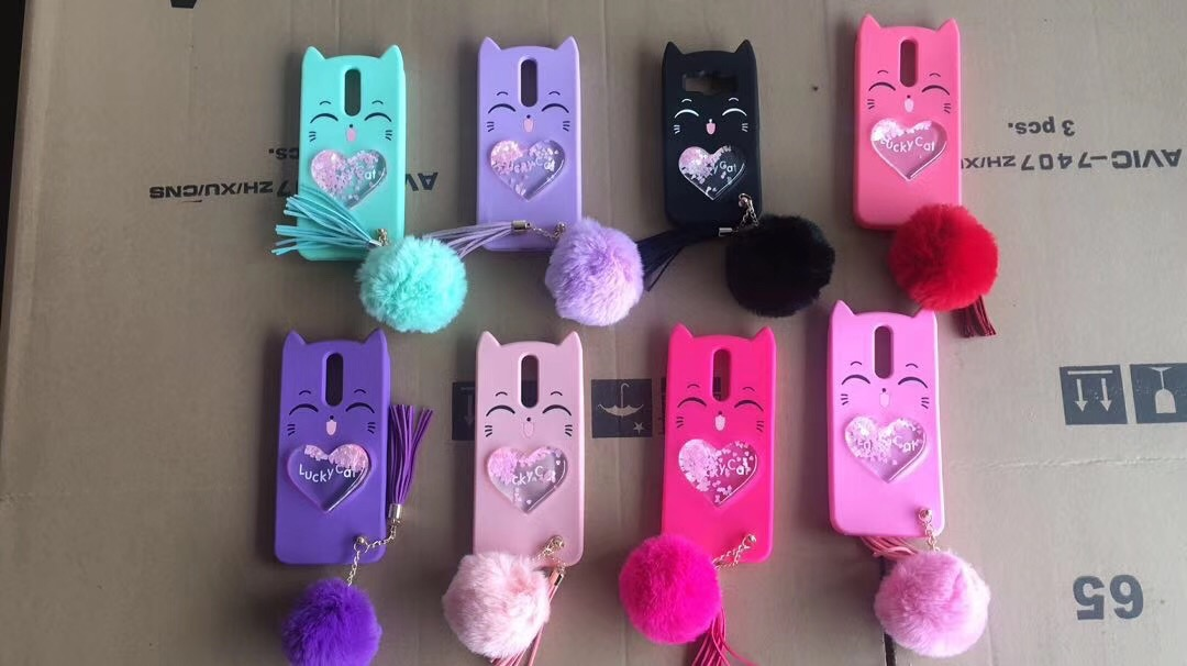 3D cute silicone lucky cat liquid phone case cover for iphone case for samsung case