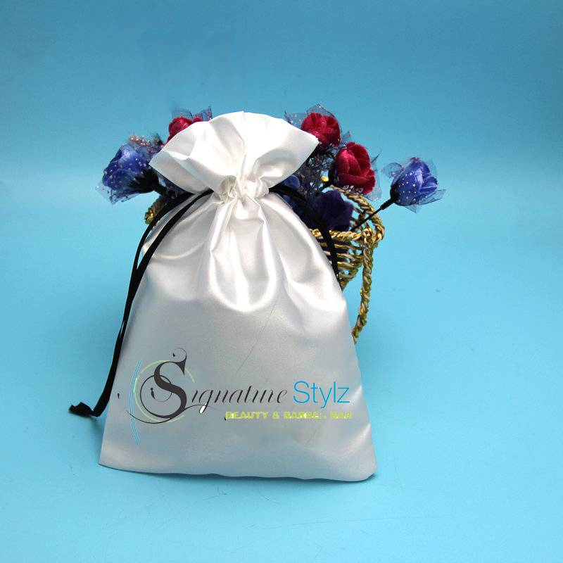 wholesale silk satin padded drawstring bags with logo
