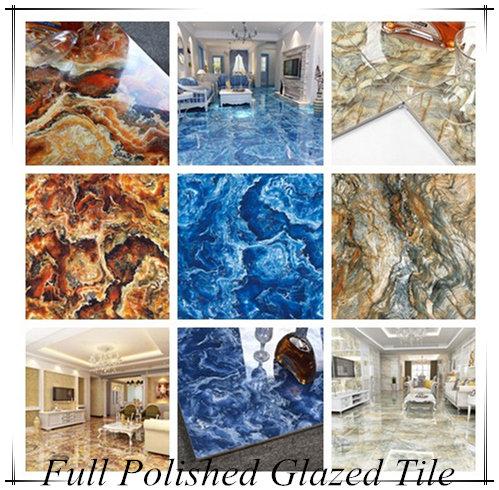 3d Inkjet Bright Color Ocean Blue Green Red Marble Granite Polished Glazed Ceramic Floor Tile 80x80