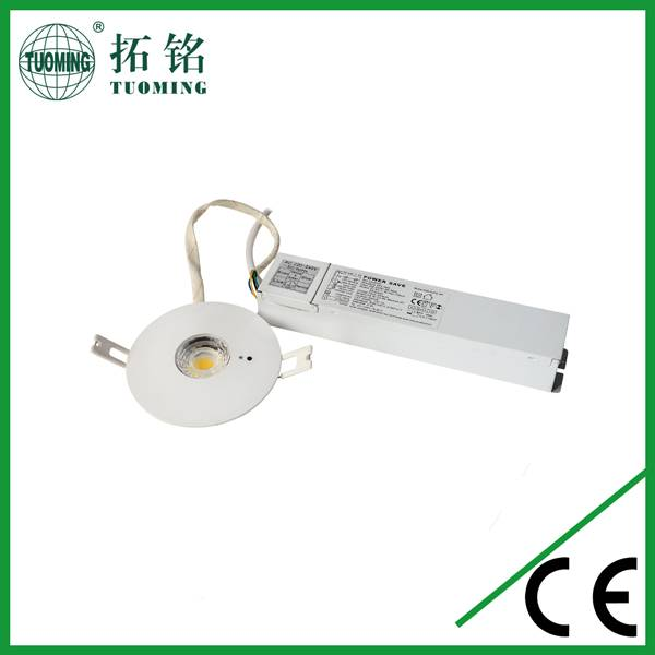 5W recessed led emergency ceiling light with auto test