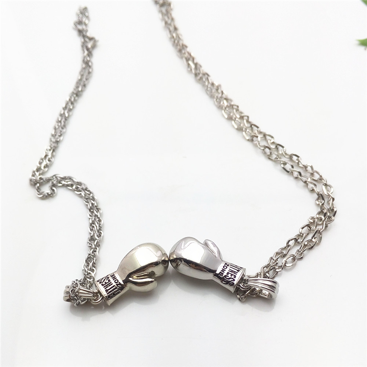 Engraved Boxing Glove Necklace Pendant for Promotion