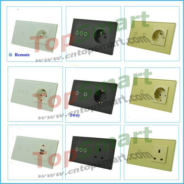 EU wall light remote touch switch and power socket