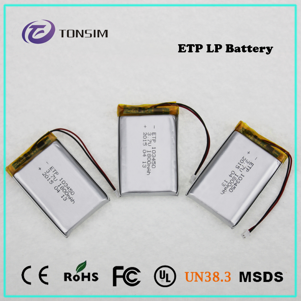 Tonsim 1800mah 103450 3.7v KC Certification Rechargeable Lithium Polymer Battery