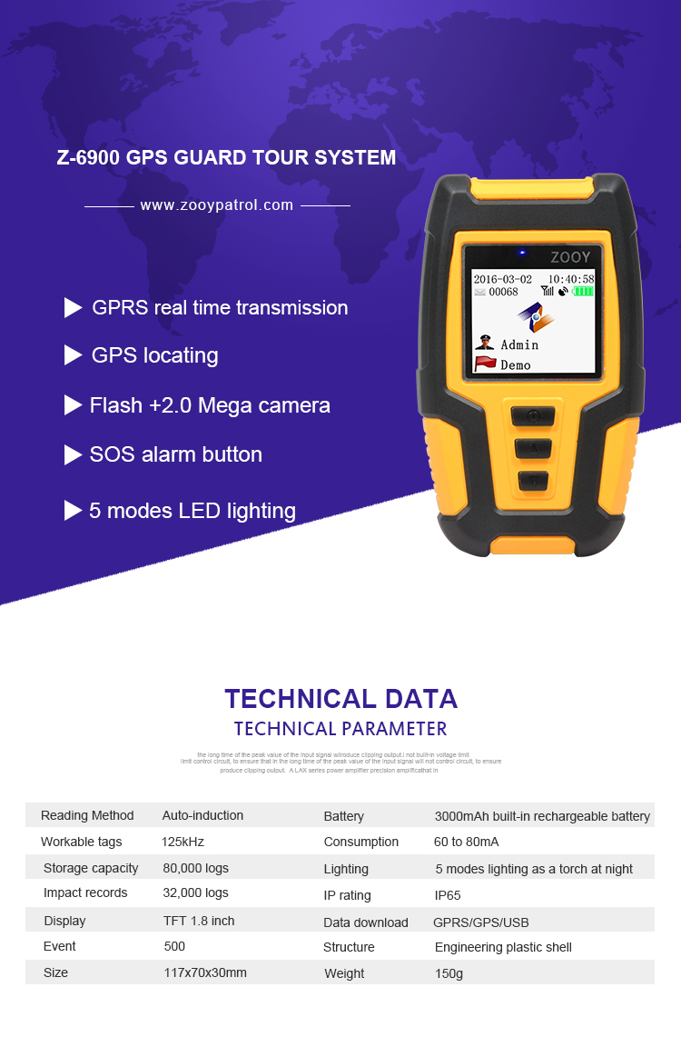 Z-6900 2G 3G 4G GPS GPRS Guard Tour Patrol System