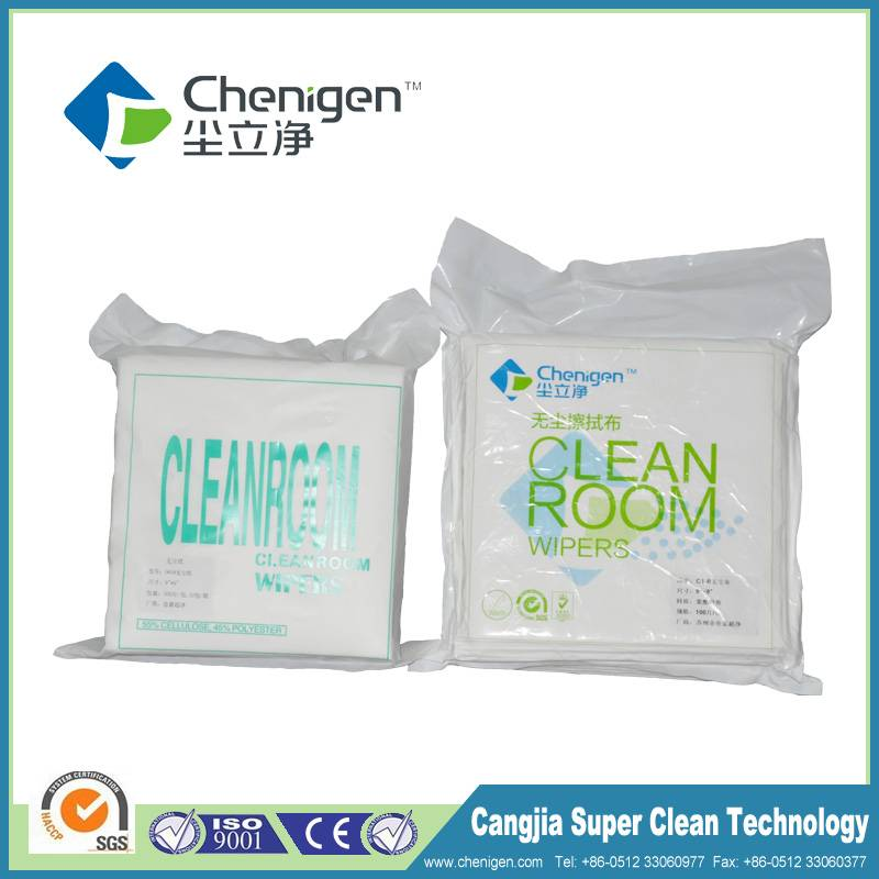 Microfiber cleanroom wiper