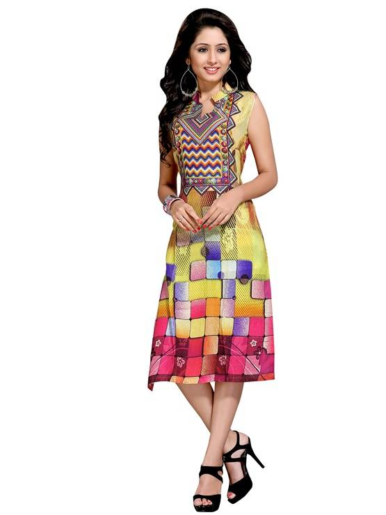 Rayon multicolour colour  Embroidered kurti  VTVIC-037