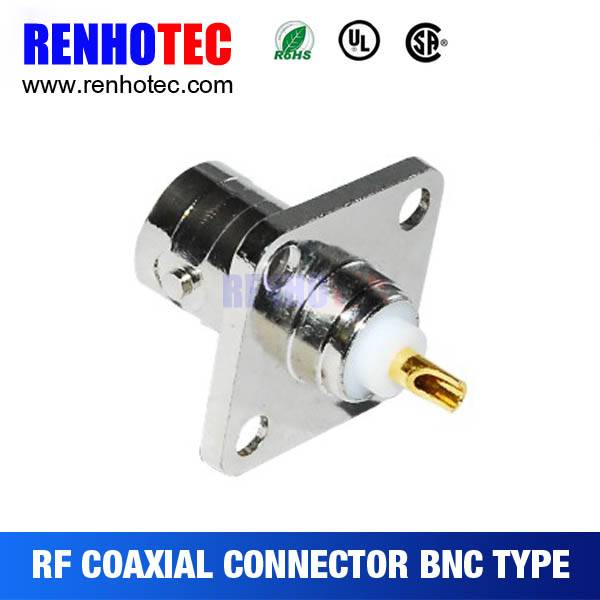 180 Degree Straight 4-holes Jack BNC Connector with one pin
