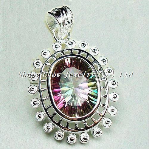 Mystic Topaz 925 Sterling Silver Gemstone Pendant