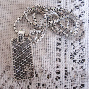 Men's Jewelry 925 Silver Pave Black CZ Diamonds Dog Tag (M-014)