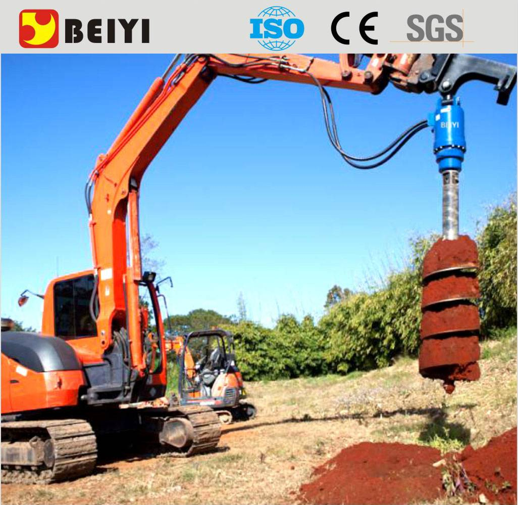 BEIYI earth drilling machine ground hole digger for tractor/excavator drill auger