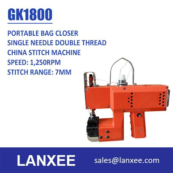 Lanxee GK1800 single needle single thread chain stitch bag closer