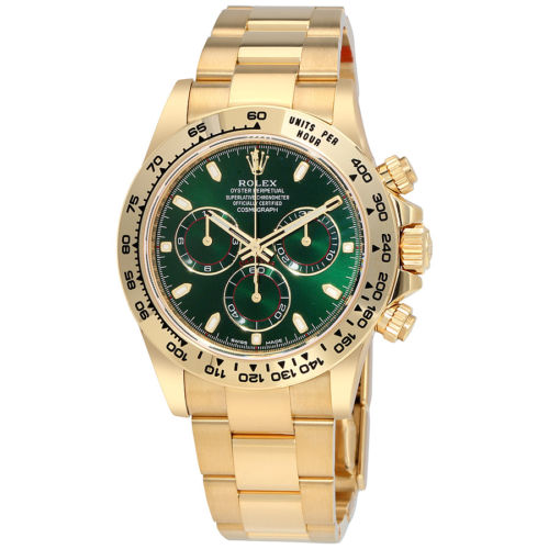 Unused Rolex 18k Yellow Gold Daytona Model 116508 Green Dial With Index Markers Luxury Watch